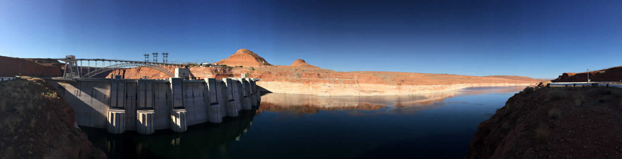 critical infrastructure protection iPhone panorama of the Lake Powell side of glen canyon dam