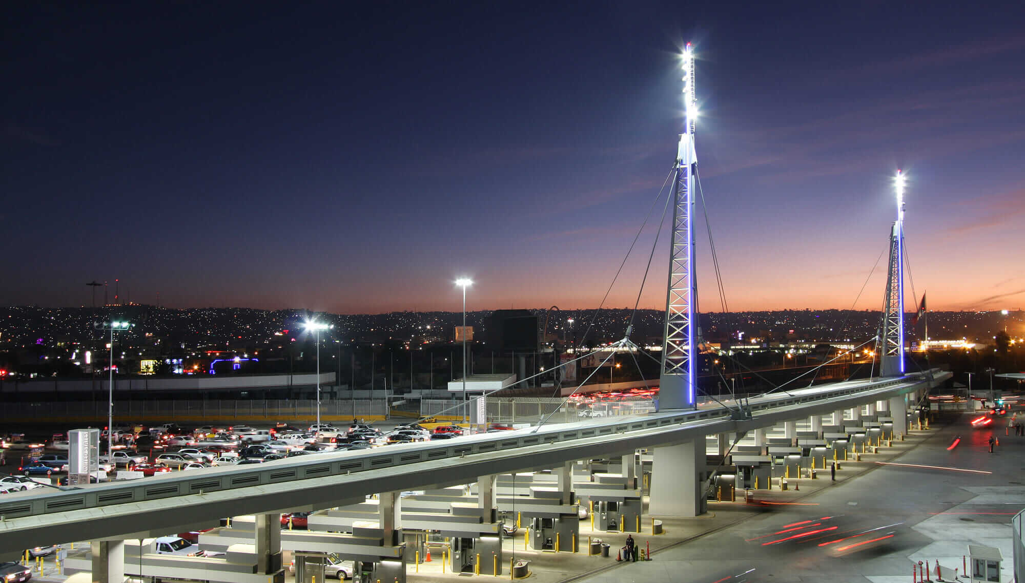 An evening view of the San Ysidro border crossing from the roof of the main building.